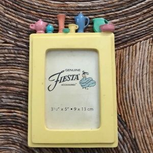 Fiesta ware yellow picture frame w/miniatures